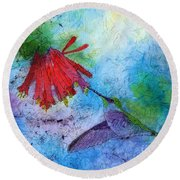 Hummingbird Batik Watercolor Round Beach Towel