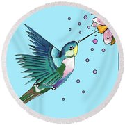 Hummingbird Blue Round Beach Towel