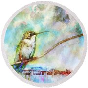 Hummingbird By The Chattanooga Riverfront Round Beach Towel