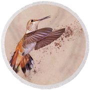 Hummingbird Color Splash I Round Beach Towel