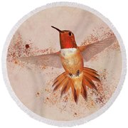 Hummingbird Color Splash II Round Beach Towel