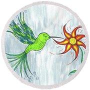 Hummingbird Floral Round Beach Towel