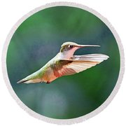 Round Beach Towel featuring the photograph Hummingbird Flying by Meta Gatschenberger