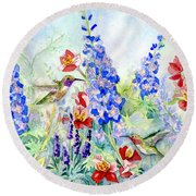 Hummingbird Garden In Spring Round Beach Towel