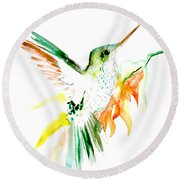 Hummingbird Green Orange Red Round Beach Towel by Suren Nersisyan