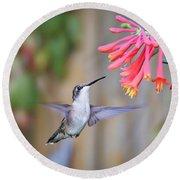 Hummingbird Happiness 2 Round Beach Towel