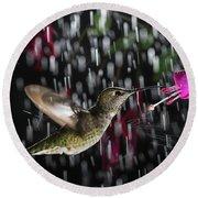 Hummingbird Hovering In Rain With Splash Round Beach Towel