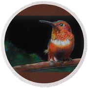 Hummingbird Round Beach Towel by Jean Cormier