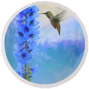 Hummingbird Mountains Round Beach Towel by Suzanne Handel