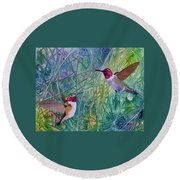 Round Beach Towel featuring the painting Hummingbird Pair by Nancy Jolley