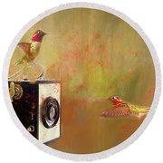 Hummingbird Photo Shoot Round Beach Towel