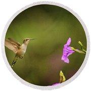 Hummingbird Pink Flower Round Beach Towel