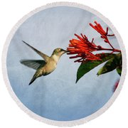 Hummingbird Red Flowers Round Beach Towel