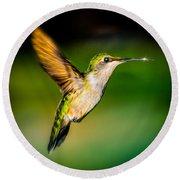 Hummingbird Sparkle Round Beach Towel