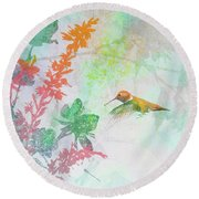 Round Beach Towel featuring the digital art Hummingbird Summer by Christina Lihani