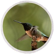 Hummingbird Take-off Round Beach Towel