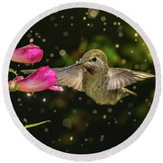 Round Beach Towel featuring the photograph Hummingbird Visits Flowers In Raining Day by William Lee