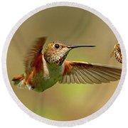 Hummingbird Vs. Bees Round Beach Towel