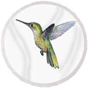 Hummingbird Watercolor Illustration Round Beach Towel