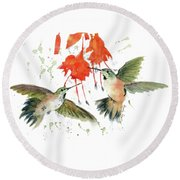 Hummingbird Watercolor Round Beach Towel by Melly Terpening