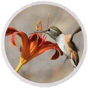 Hummingbird Whisper  Round Beach Towel
