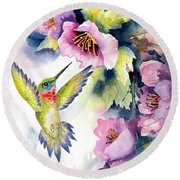 Hummingbird With Pink Flowers Round Beach Towel