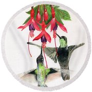 Hummingbirds And Fuchsia Round Beach Towel