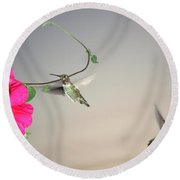 Round Beach Towel featuring the photograph Hummingbirds Coming And Going by Joyce Dickens