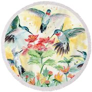 Hummingbirds Party Round Beach Towel by Melly Terpening