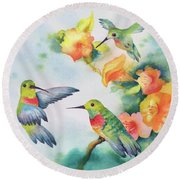Hummingbirds With Orange Flowers Round Beach Towel
