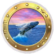Humpback Whale Breaching At Sunset Round Beach Towel