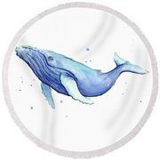 Humpback Whale Watercolor Round Beach Towel