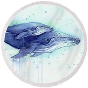 Humpback Whales Mom And Baby Watercolor Painting - Facing Right Round Beach Towel
