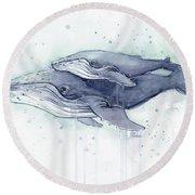 Humpback Whales Painting Watercolor - Grayish Version Round Beach Towel by Olga Shvartsur