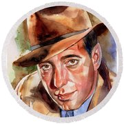 Humphrey Bogart Portrait Round Beach Towel