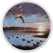 Humphrey Farm Pintails Round Beach Towel