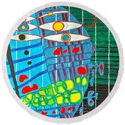 Hundertwasser Blue Moon Atlantis Escape To Outer Space In 3d By J.j.b Round Beach Towel