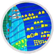 Hundertwasser Blue Moon Atlantis Escape To Outer Space Round Beach Towel