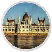 Round Beach Towel featuring the painting Hungarian National Parliament by Odon Czintos