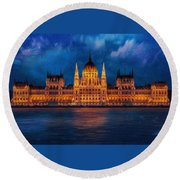 Hungarian Parliament At Night Round Beach Towel
