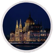 Hungarian Parliament Building #1 Round Beach Towel