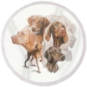 Hungarian Vizsla W/ghost Round Beach Towel