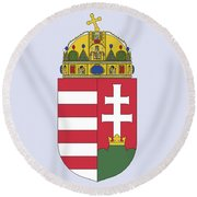Round Beach Towel featuring the drawing Hungary Coat Of Arms by Movie Poster Prints