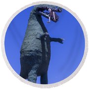 Hungry Dinosaur Round Beach Towel