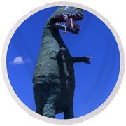 Hungry Dinosaur Head In The Clouds Round Beach Towel