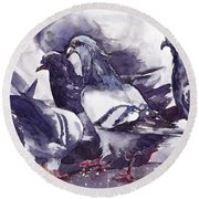 Hungry Pigeons Watercolor Round Beach Towel