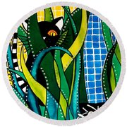 Round Beach Towel featuring the painting Hunter In Camouflage - Cat Art By Dora Hathazi Mendes by Dora Hathazi Mendes