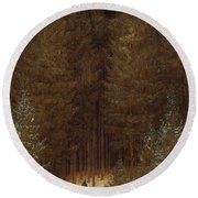 Hunter In The Forest  Round Beach Towel