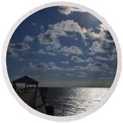 Round Beach Towel featuring the photograph Hunter's Moon by Laura Fasulo