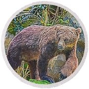 Hunting Bear Round Beach Towel